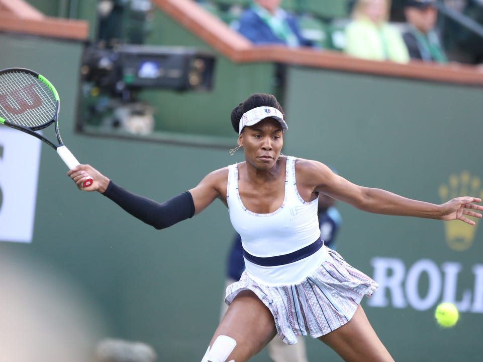 Venus Williams eyes a return against Angelique Kerber during the BNP Paribas Open in Indian Wells on Thursday, March 14, 2019. Kerber won.