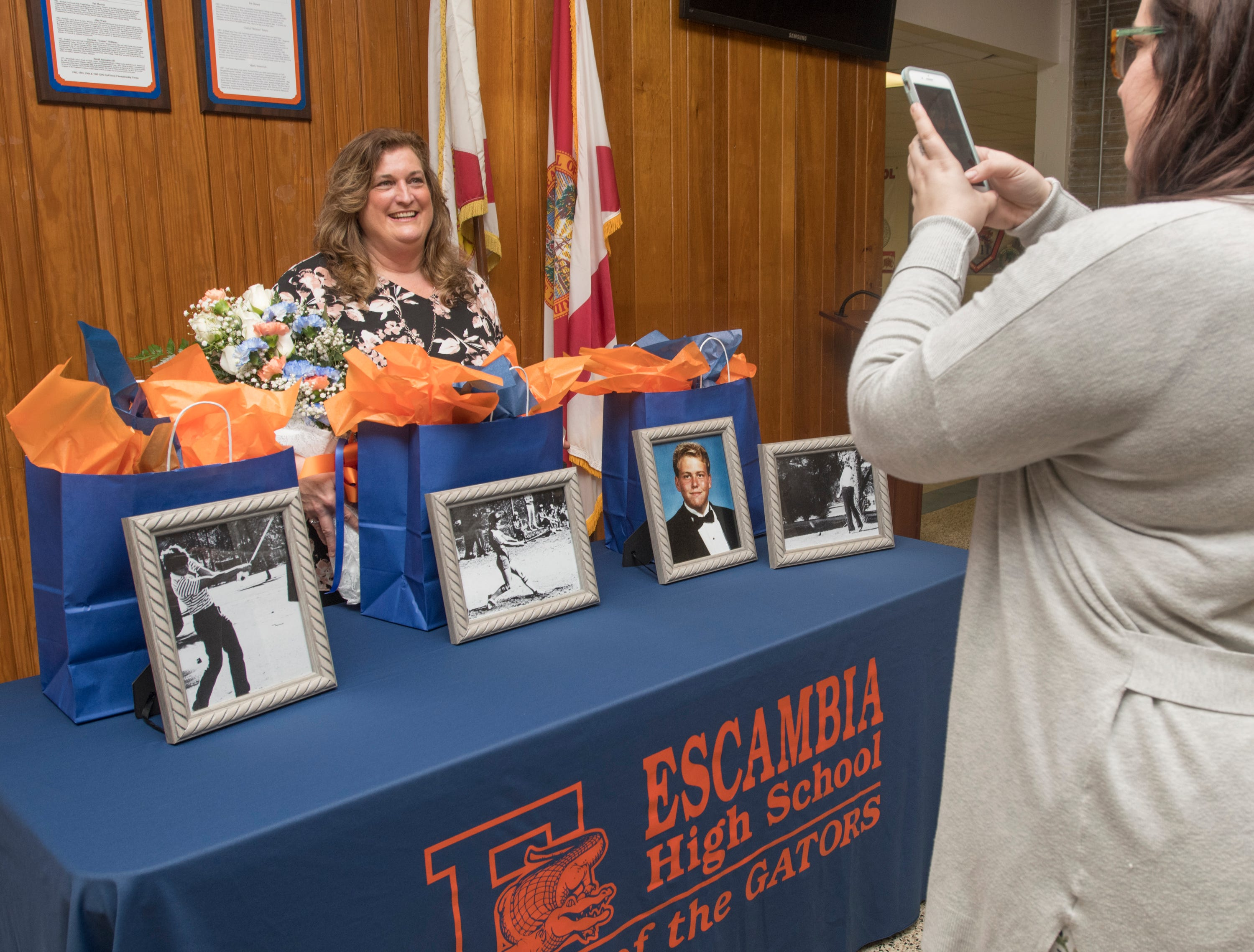Hall of Fame class of 2018-2019 inductee Cheryl Peters poses for a photo at Escambia High School in Pensacola on March 14, 2019.