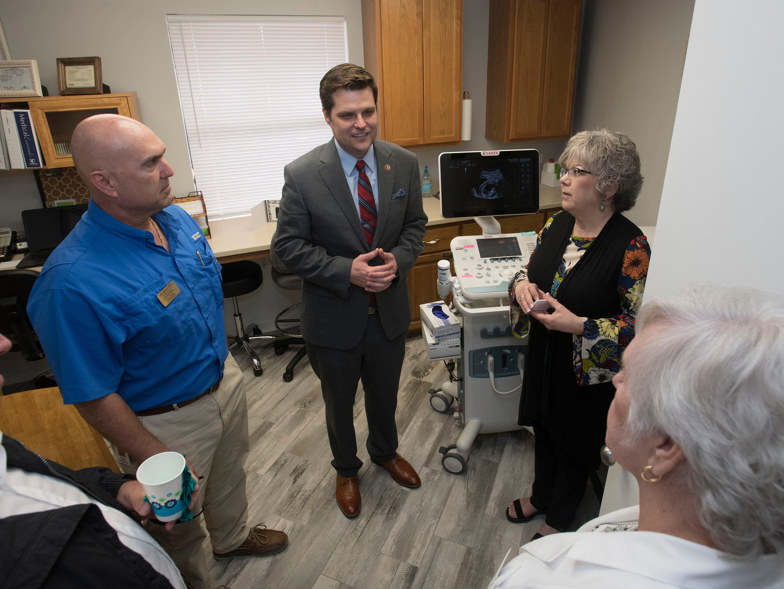 Congressman Matt Gaetz gets a tour of the Life Options Clinic in Milton from the organization's Executive Director, Cindy Roberts, on Friday, March 15, 2019.