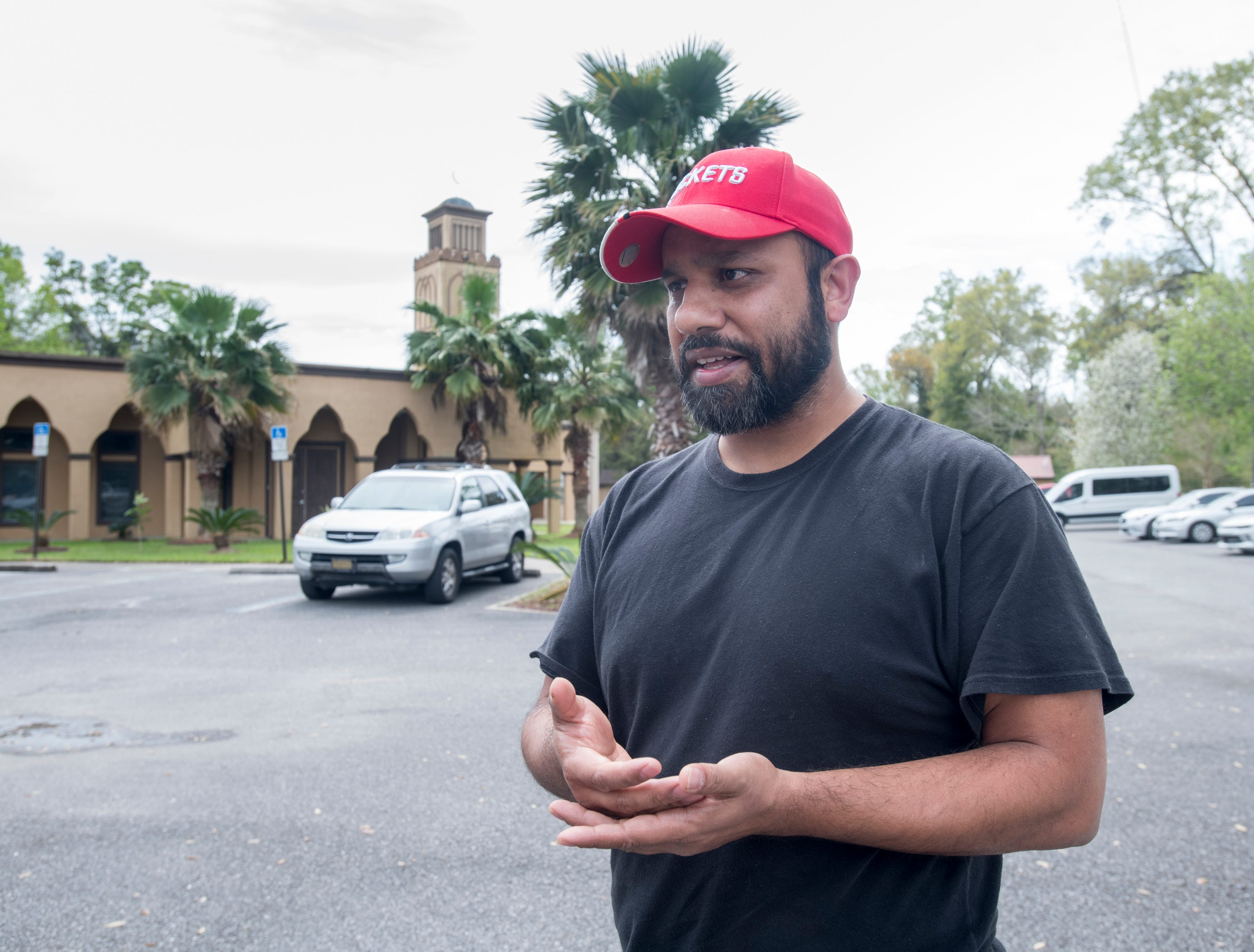 Tarik Ahmed, of Dallas, Texas, talks about the New Zealand mosque massacre prior to Jumu'ah (Friday Prayer) at the Islamic Center of Northwest Florida in Pensacola on Friday, March 15, 2019.
