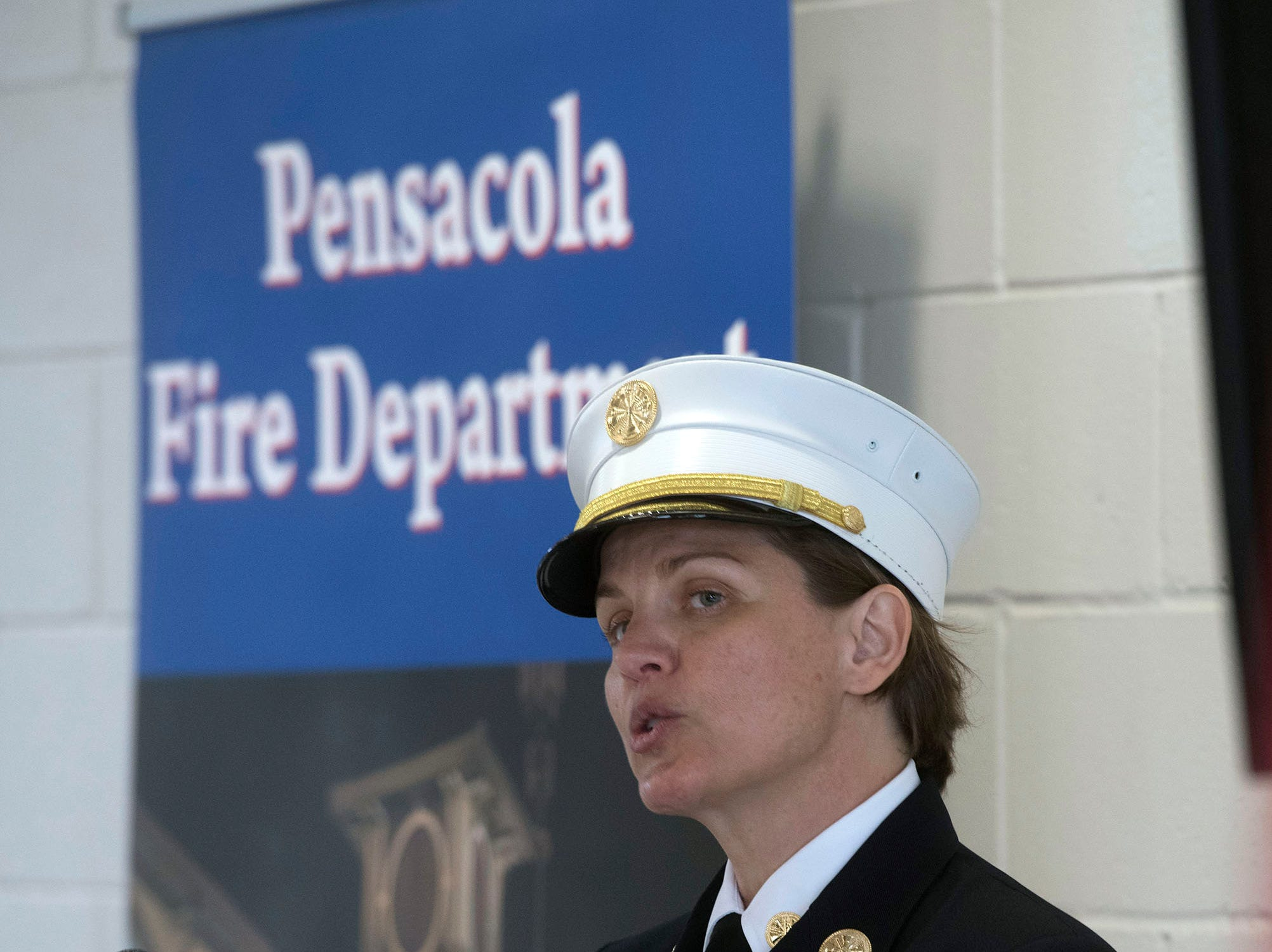 Pensacola Fire Chief Ginny Cranor speaks during a ceremony to dedicate the new Fire Sation Three off Summit Blvd on Thursday, March 14, 2019. The new building replaces the current station built in 1969 — money from the local option sales tax paid for the project.