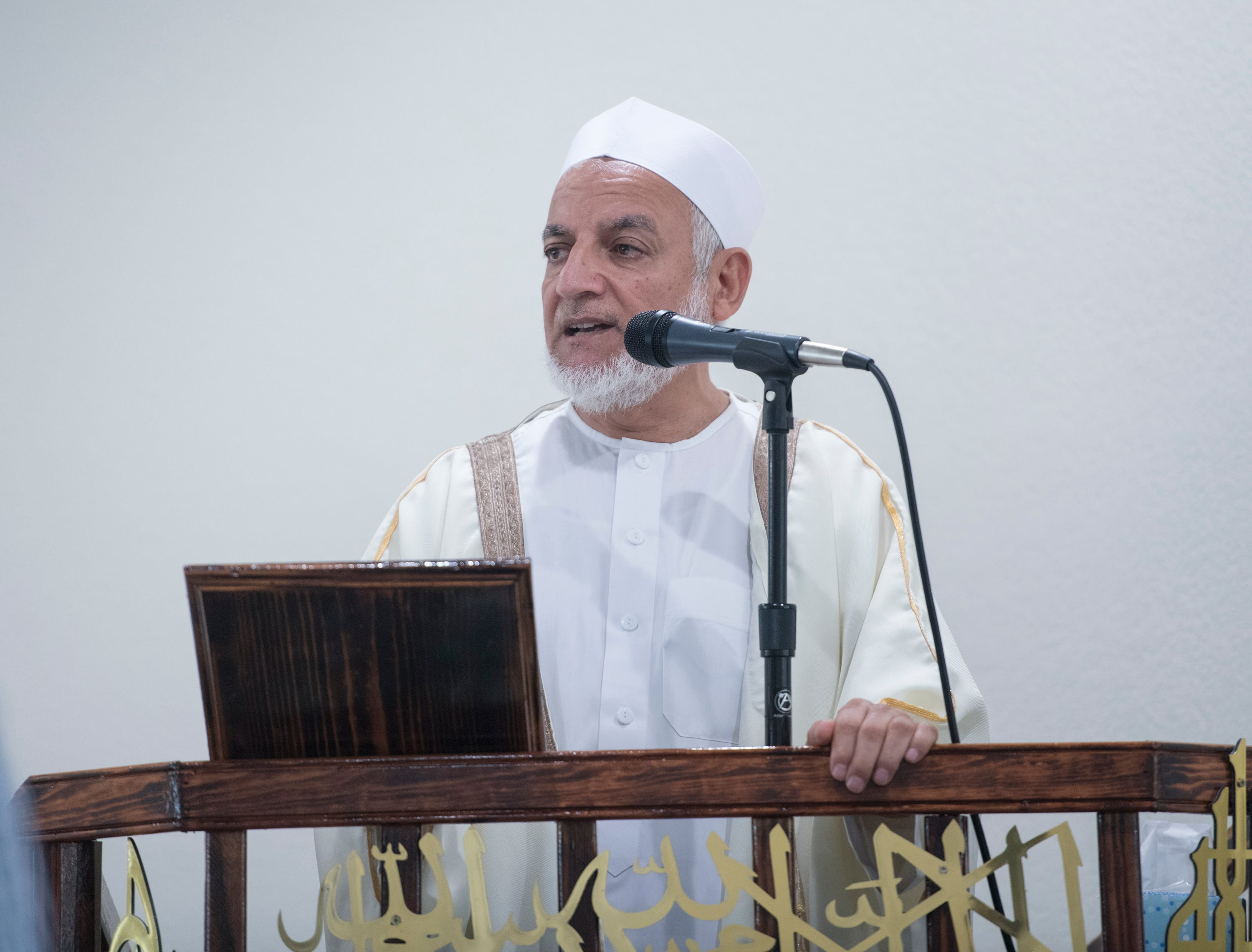 Imam Hosny Ibriham speaks during Jumu'ah (Friday Prayer) at the Islamic Center of Northwest Florida in Pensacola on Friday, March 15, 2019.
