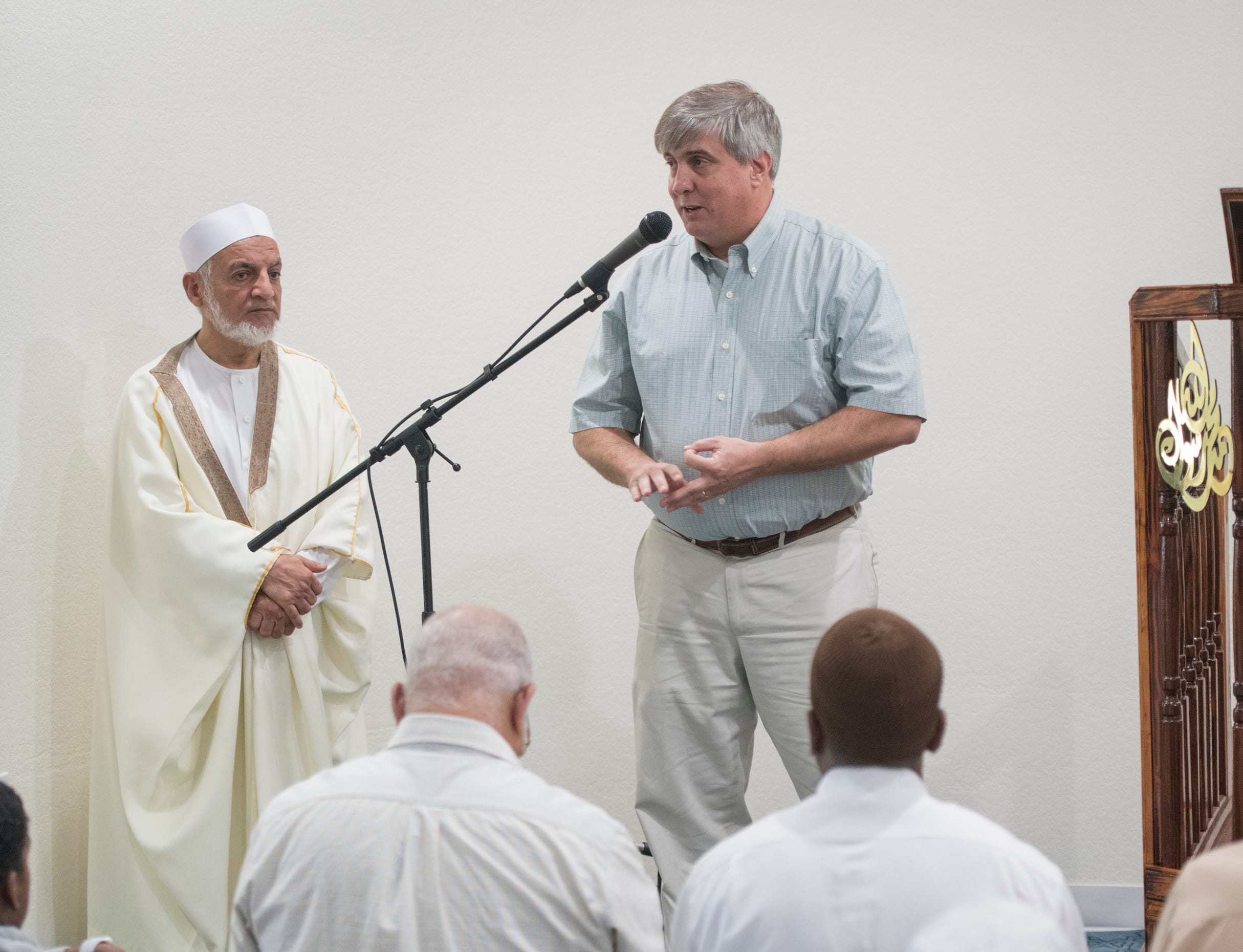 Pensacola Mayor Grover Robinson speaks to the congregation during Jumu'ah (Friday Prayer) at the Islamic Center of Northwest Florida in Pensacola on Friday, March 15, 2019.  The Mayor expressed his support for the Muslim community following the New Zealand mosque massacre.