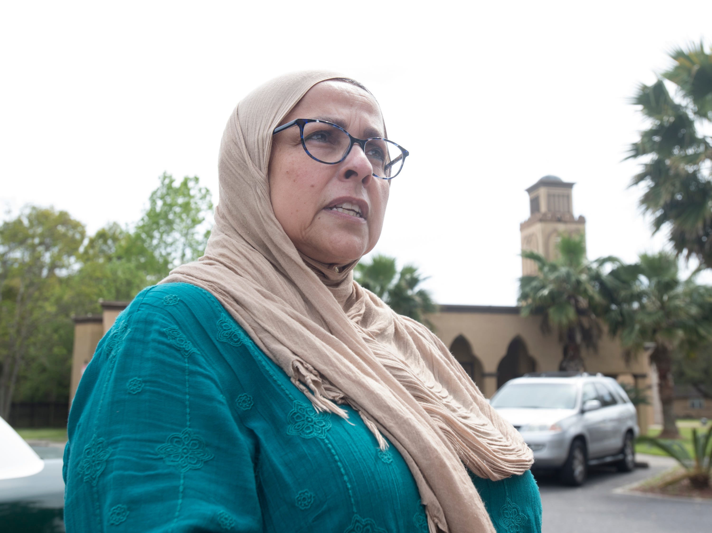 Community organizer and spokesperson Salma Ashmani talks about the New Zealand mosque massacre prior to Jumu'ah (Friday Prayer) at the Islamic Center of Northwest Florida in Pensacola on Friday, March 15, 2019.