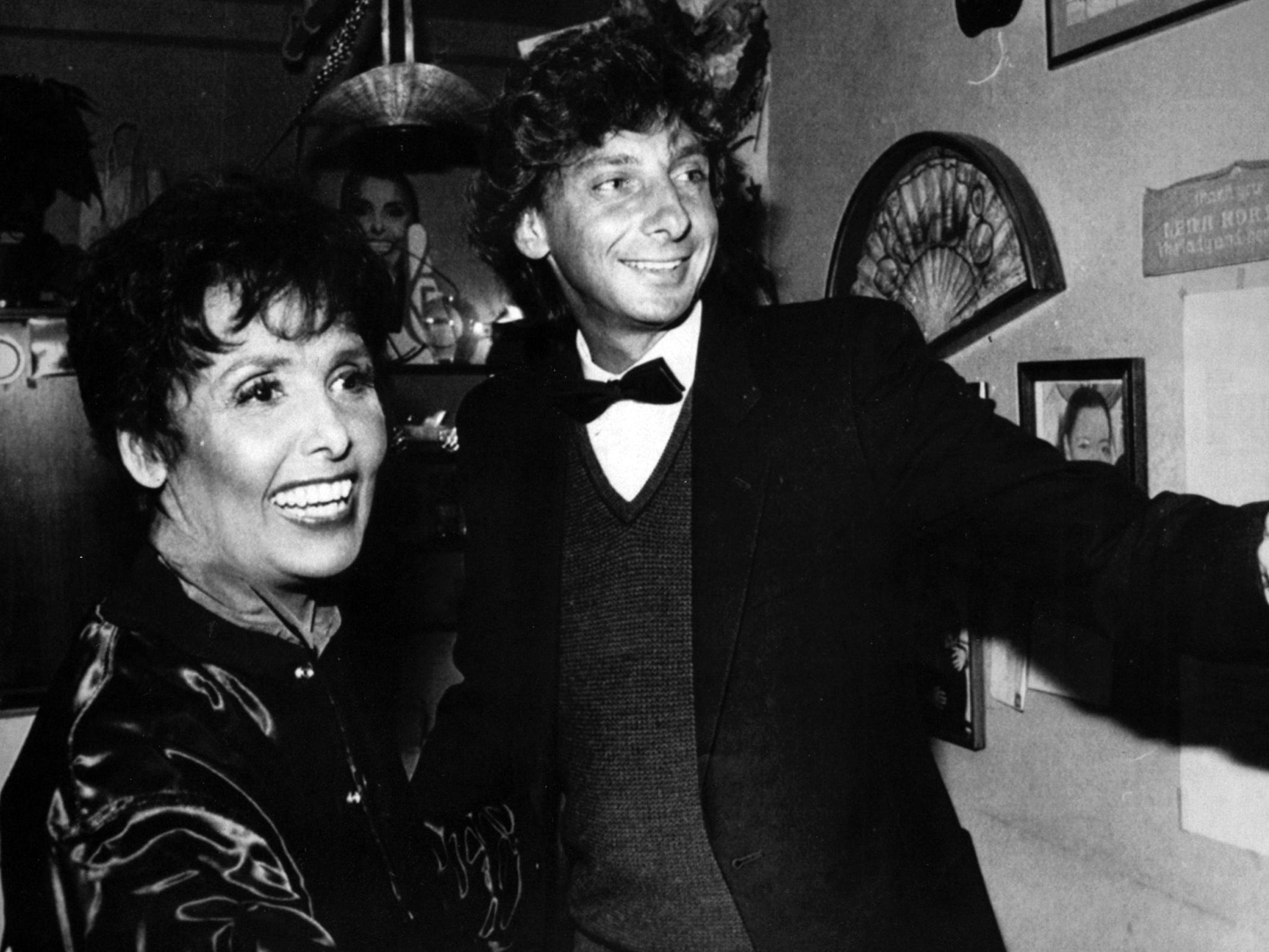 "Two show-biz icons: Barry Manilow visits Lena Horne backstage on Nov. 26, 1981, following a performance of ""Lena Horne: The Lady and Her Music."""