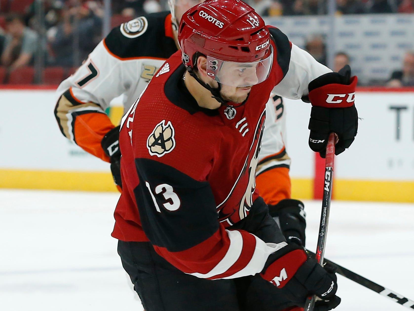 Arizona Coyotes defenseman Alex Goligoski (33) scores a goal against the Anaheim Ducks in the second period during an NHL hockey game, Thursday, March 14, 2019, in Glendale, Ariz.