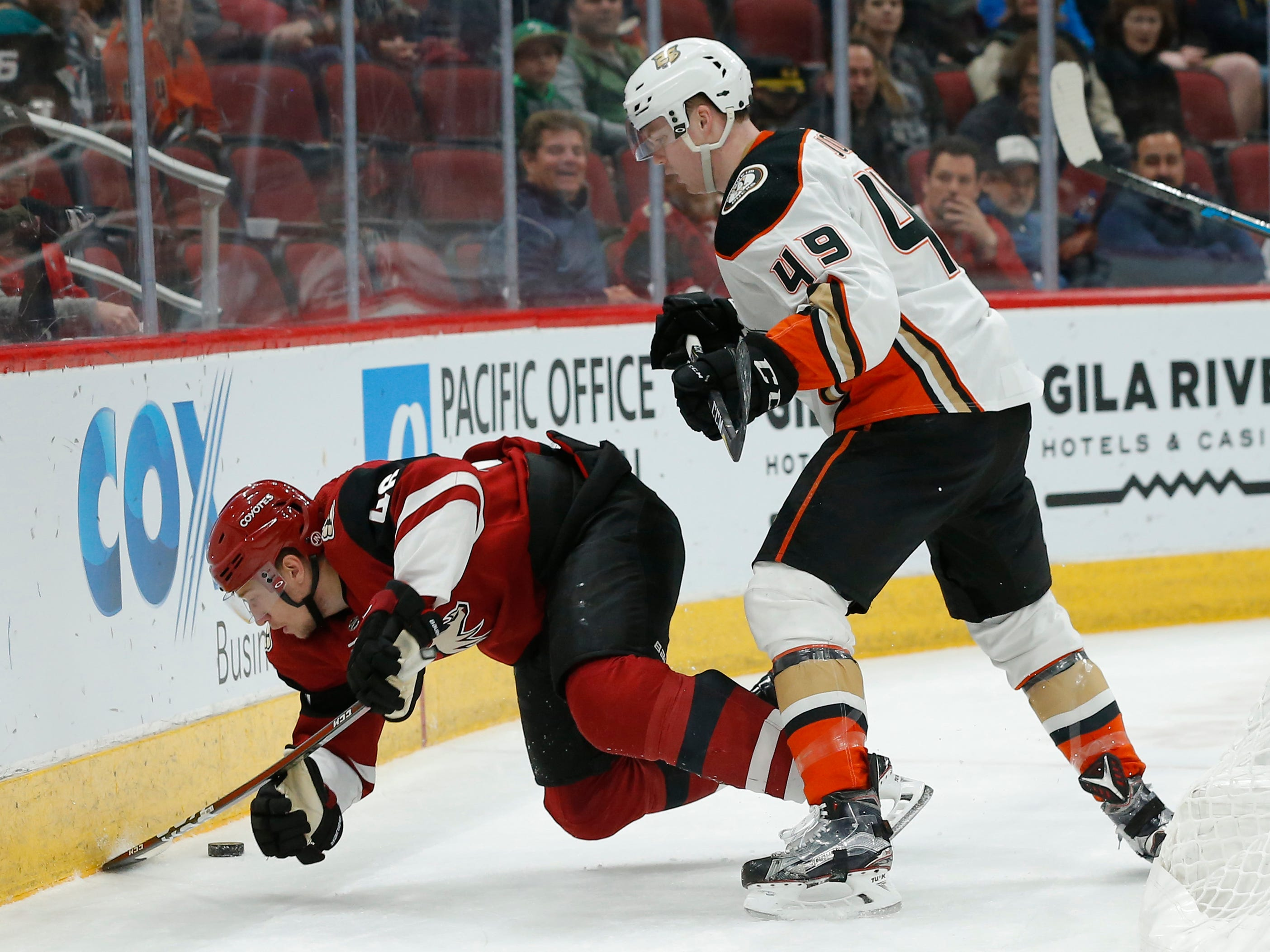 Anaheim Ducks left wing Max Jones (49) checks Arizona Coyotes defenseman Ilya Lyubushkin to the ice in the first period during an NHL hockey game, Thursday, March 14, 2019, in Glendale, Ariz.