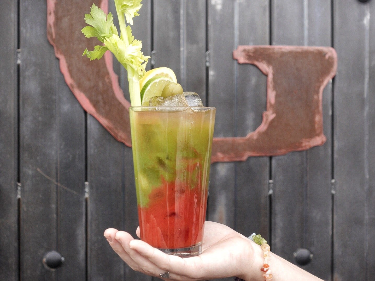 The new Christmas-style Bloody Mary at Taco Guild
