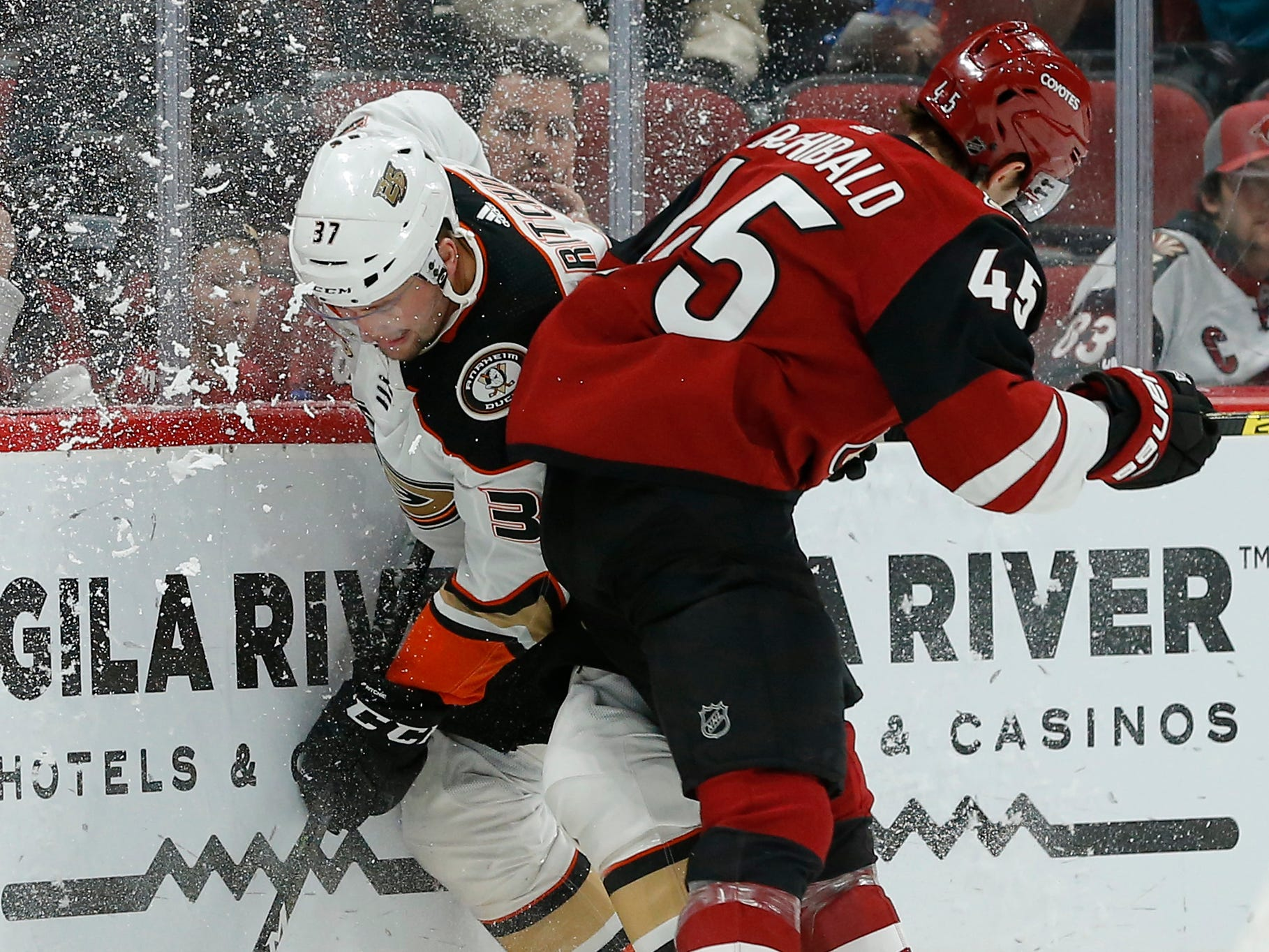 Arizona Coyotes right wing Josh Archibald (45) in the second period during an NHL hockey game against the Anaheim Ducks, Thursday, March 14, 2019, in Glendale, Ariz.