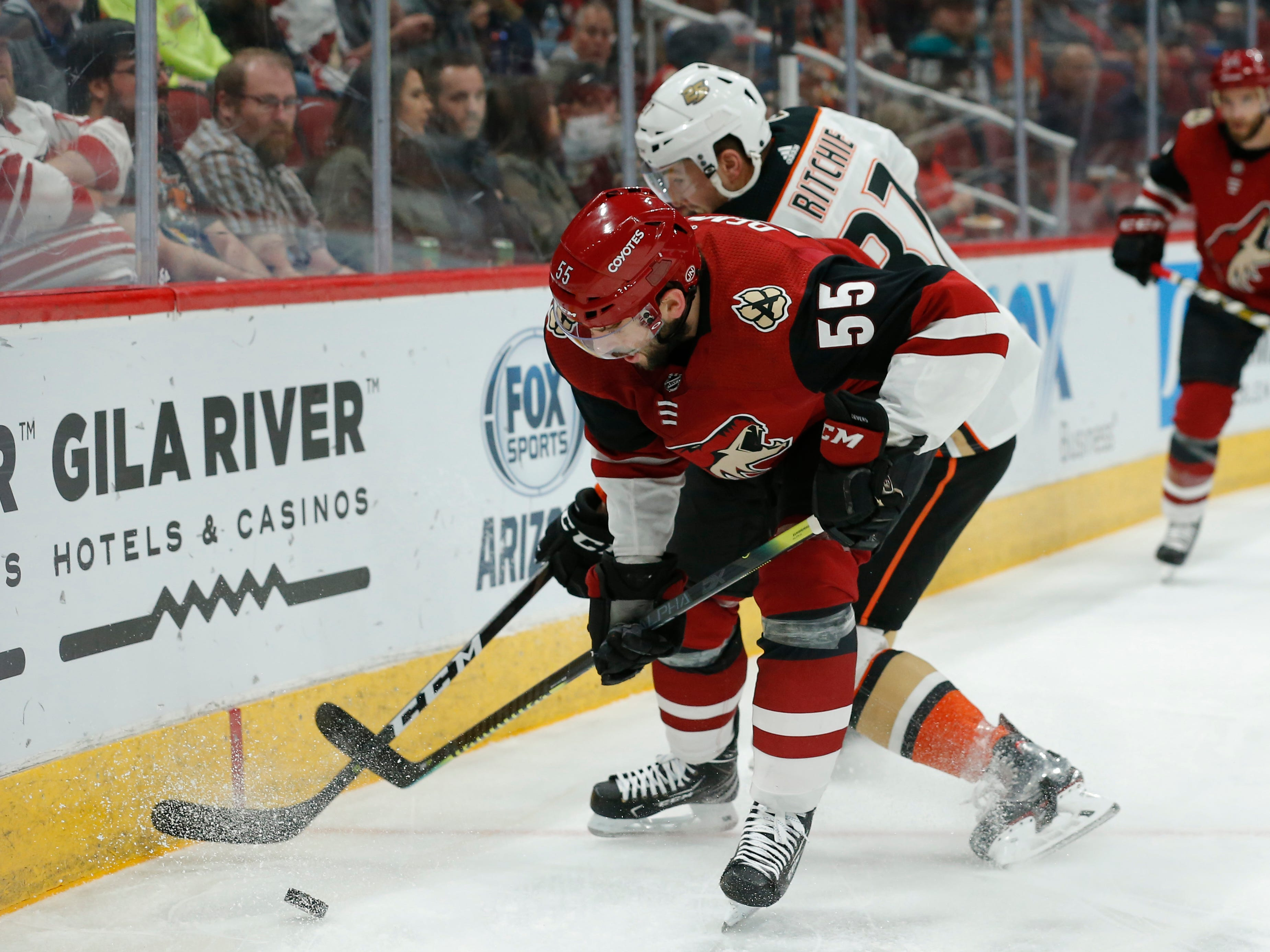 Arizona Coyotes defenseman Jason Demers (55) in the second period during an NHL hockey game against the Anaheim Ducks, Thursday, March 14, 2019, in Glendale, Ariz.