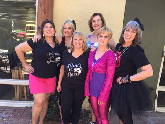 "Friends in Dance, dressed in costume for ""Fame,"" performed at a fashion show and luncheon during my birthday weekend."