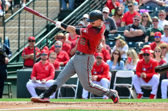 Diamondbacks first baseman Jake Lamb grounds out during the second inning of a game against the Angels on March 15 at Tempe Diablo Stadium.