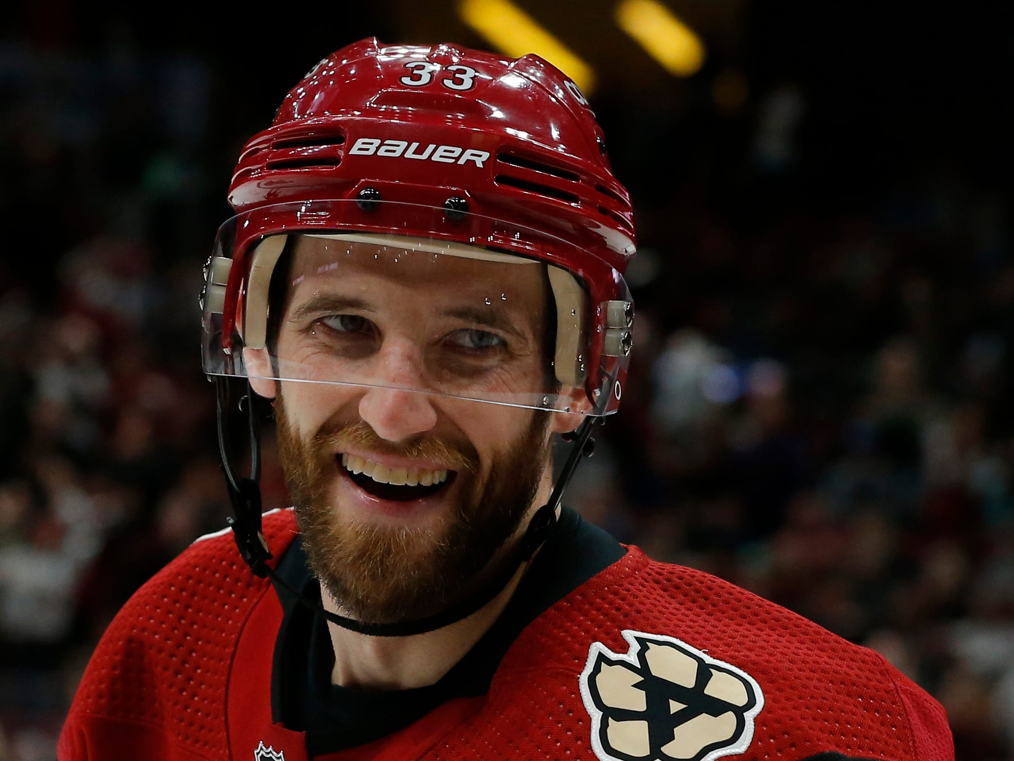 Arizona Coyotes defenseman Alex Goligoski (33) reacts after scoring a goal against the Anaheim Ducks in the second period during an NHL hockey game, Thursday, March 14, 2019, in Glendale, Ariz.
