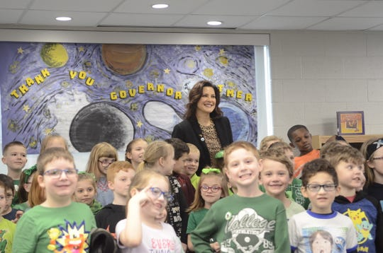 Michigan Governor Gretchen Whitmer stands for a photo after reading to second grade students at Port Huron's Crull Elementary on March 15, 2019, in Port Huron, Michigan.