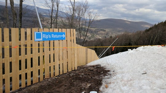 The start of Rip's Return trail on Hunter Mountain on March 15, 2019. Rip's Return is one of a pair of trails that have seen three skiers sustain fatal injuries this season.