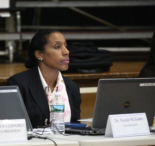 Nicole Williams, then-Superintendent of the Poughkeepsie City School District, at a board meeting at Morse Elementary School on Feb 21, 2018.