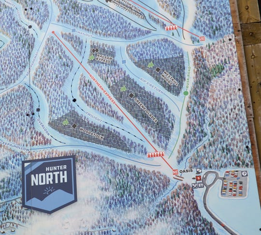 A portion of the trail map at Hunter Mountain showing the Hunter North portion of the resort on March 15, 2019. Two trails on Hunter North, Twilight and Rip's Return have seen fatalities this season.