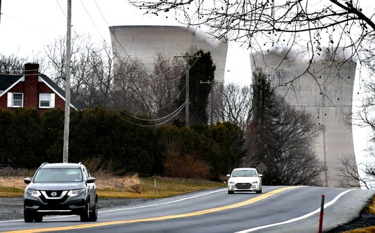 Traffic travels south on Route 441 near the Three Mile Island Nuclear Generating Station in Londonderry Township, Dauphin County, Friday, March 15, 2019. The plant's Unit 2 reactors have been shut down since the March 28,1979, partial meltdown. Bill Kalina photo