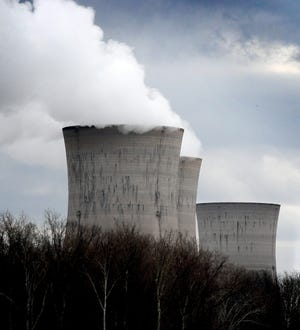 The Three Mile Island Unit 1 reactors and one of the Unit 2 reactors, right, viewed from the north, Friday, March 15, 2019. The Unit 2 reactors have been shut down since the March 28, 1979, partial meltdown. Bill Kalina photo