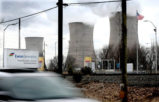 Traffic travels north on Route 441 near an entrance to the Three Mile Island Nuclear Generating Station in Londonderry Township, Dauphin County, Friday, March 15, 2019. The plant's Unit 2 reactors have been shut down since the March 28,1979, partial meltdown. Bill Kalina photo