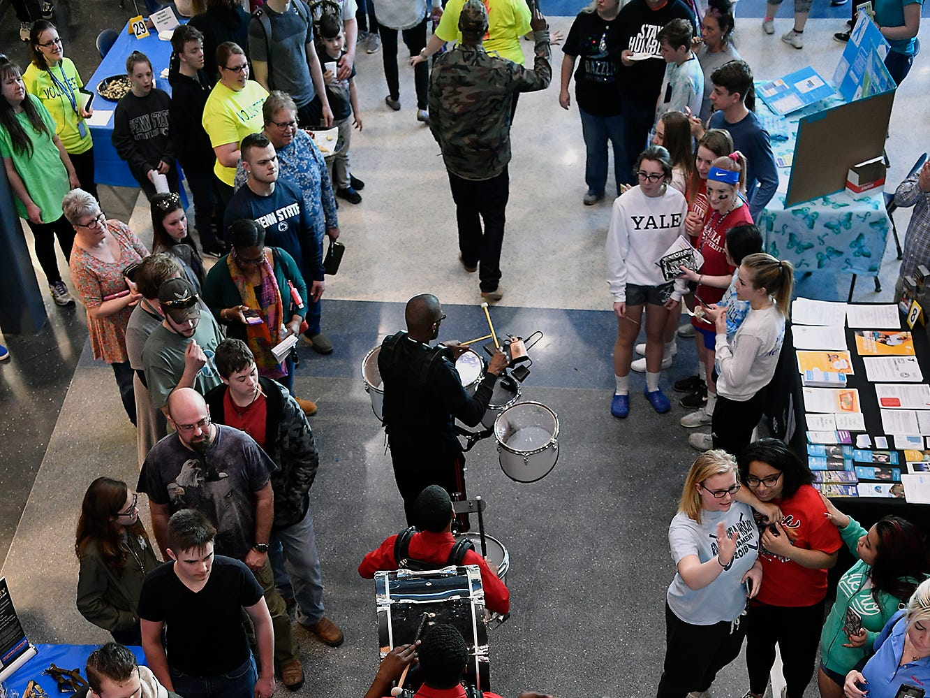 The YMCA York's Temple Guard make their way through the crowd during the Spring Grove Area High School third annual Diversity Festival, Thursday, March 13, 2019