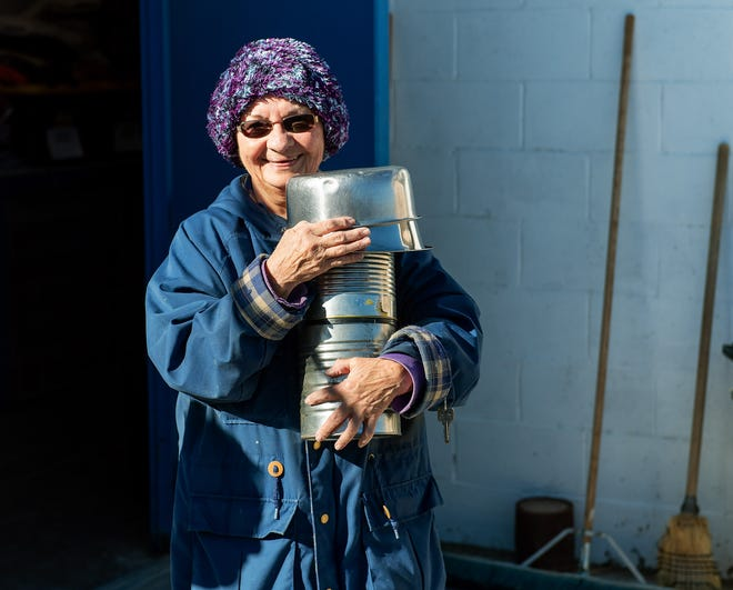 Mary Jones volunteers at the Yerington Animal Shelter, spending two days a week doing tasks such as laundry, cleaning bowls, and portioning food.