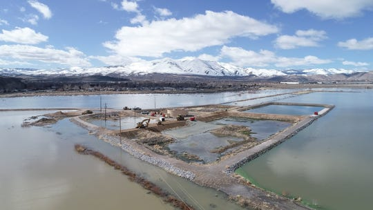 Residents near Swan Lake, an ephemeral lake near Reno, are worried about rising water encroaching on evaporative ponds at a Washoe County sewer plant. The plant is shown here on March 13, 2019.