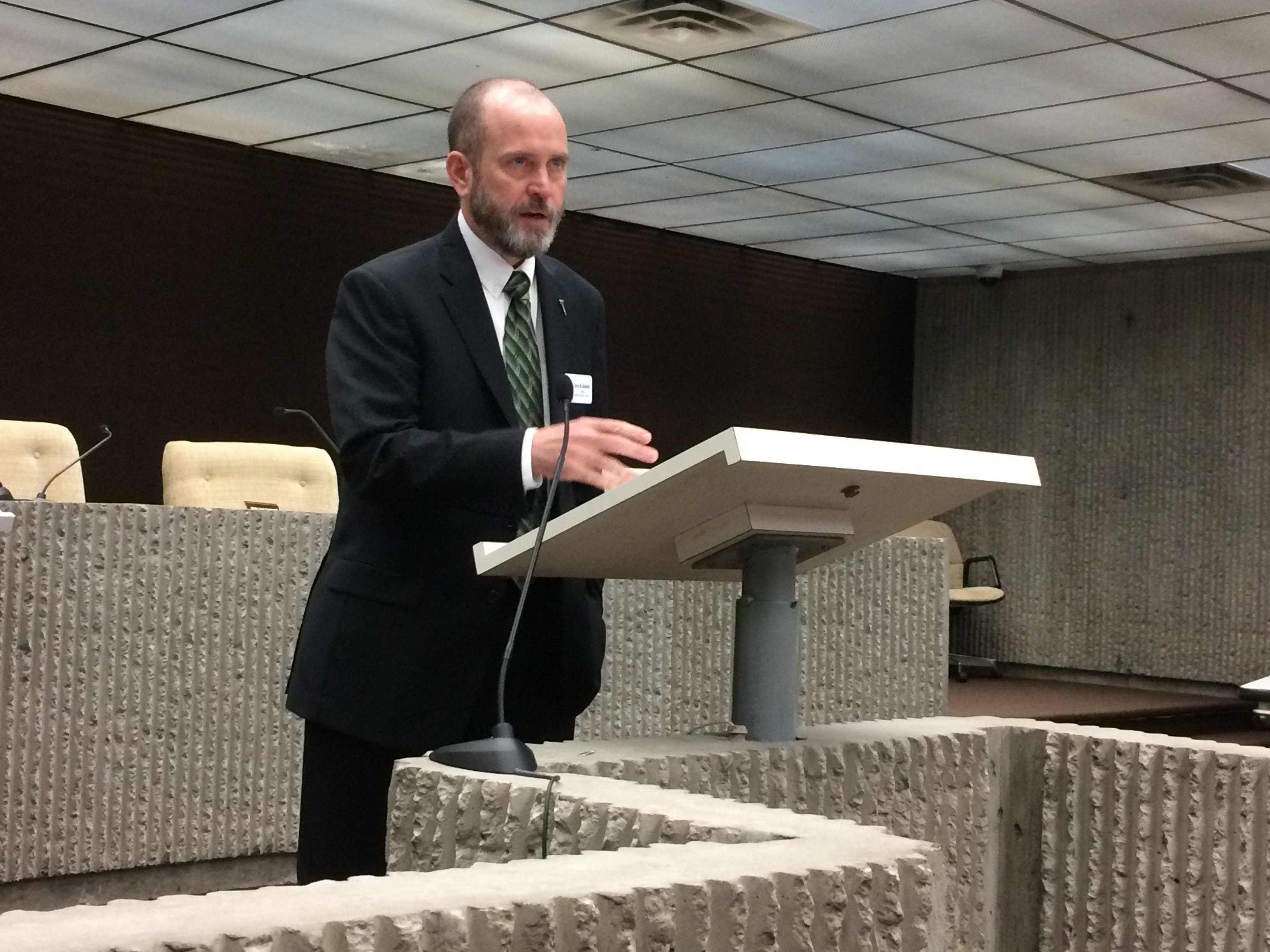 Judge Darrin Dolehanty speaks during an expanded Juvenile Detention Alternatives Initiative steering committee meeting Wednesday.