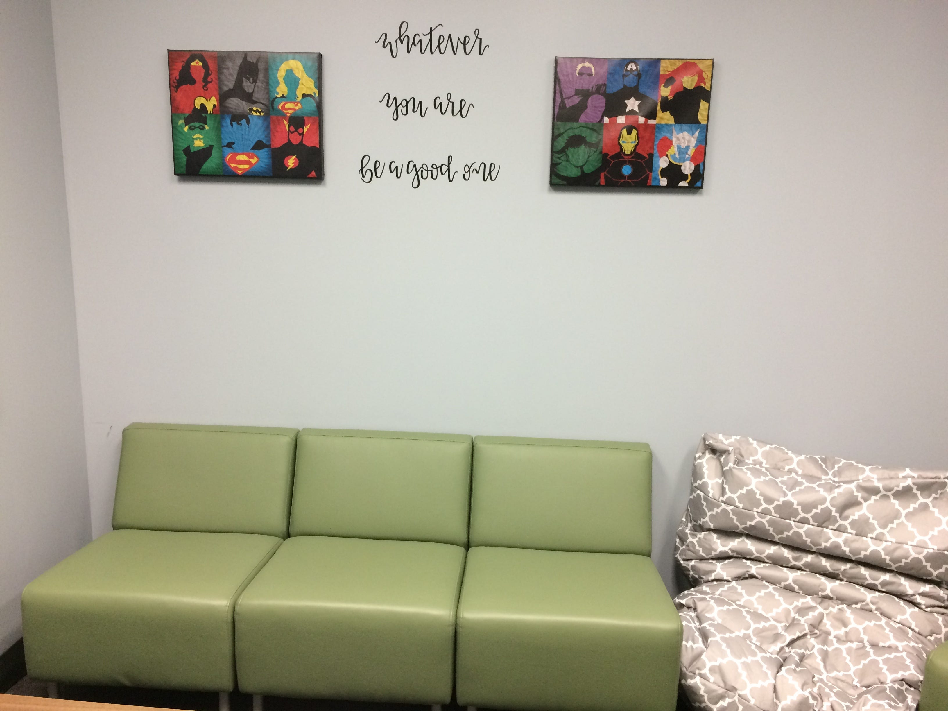 An intake room in the Wayne County Probation Department features calming colors and positive messages for children.