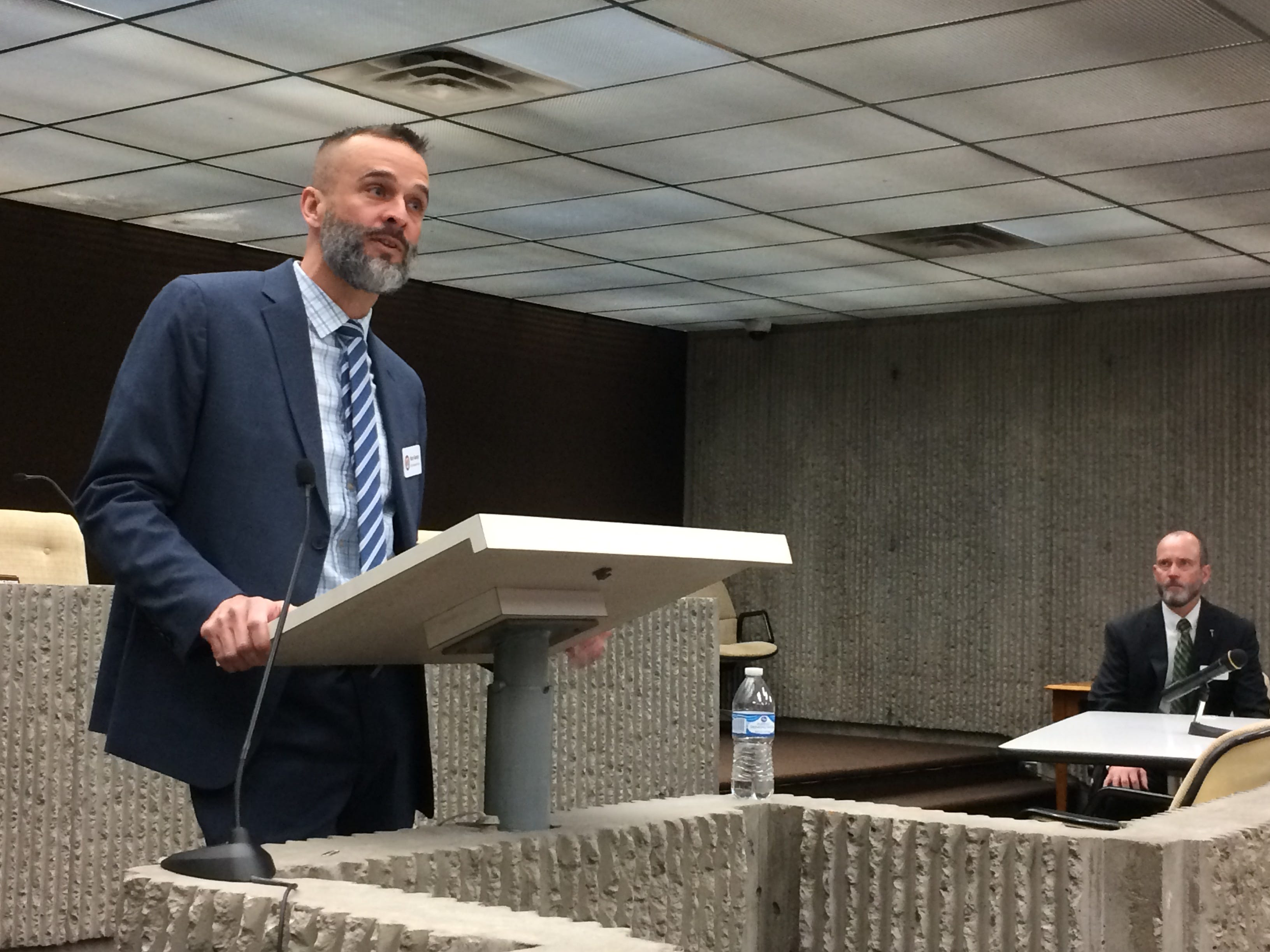 Kory George, Wayne County's chief probation officer, speaks during an expanded Juvenile Detention Alternatives Initiative steering committee meeting Wednesday as Judge Darrin Dolehanty listens.