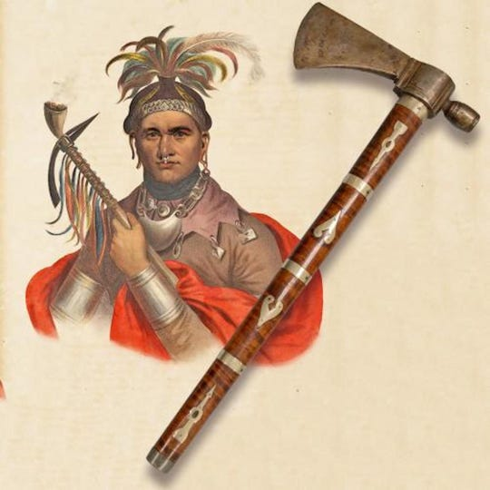 Cornplanter's pipe-tomahawk and an image of the Seneca chief.