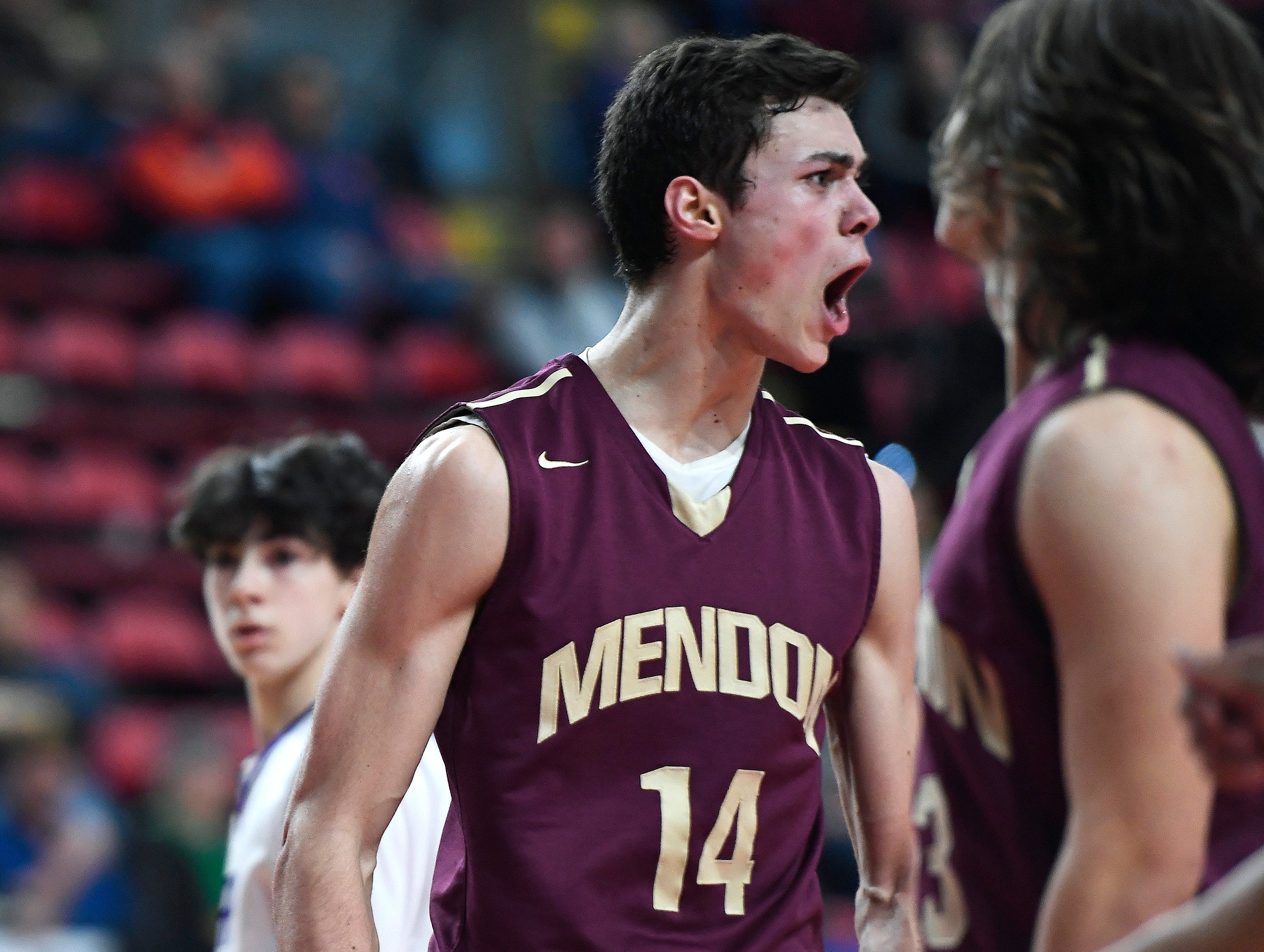 Pittsford Mendon's Dan Cook reacts to a basket and foul during a Class A semifinal.