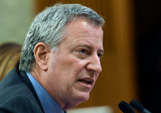 New York City Mayor Bill de Blasio testifies during a joint legislative budget hearing on local government Monday, Feb. 11, 2019, in Albany, N.Y.