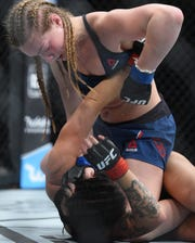 Aspen Ladd, top, is scheduled to fight Sijara Eubanks at UFC on ESPN+9 at Blue Cross Arena on May 18.