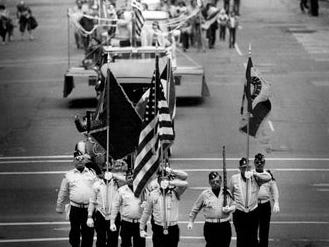 The American Legion contingent during the 1986 St. Patrick's Day parade.