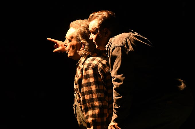 """Lennie (Don Tamblyn), left, and George (Russell Piette) fantasize about a farm of their own in a scene from John Steinbeck's """"Of Mice and Men."""" The drama opens Saturday at Riverfront Playhouse."""