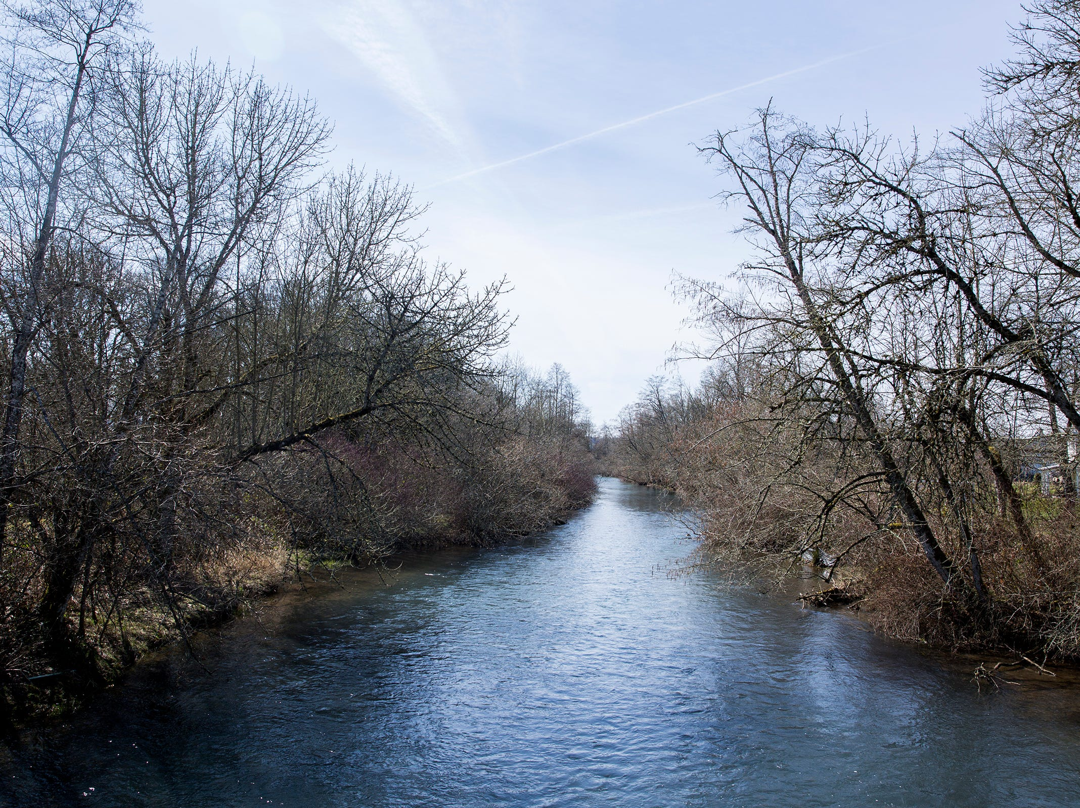 Mill Creek, a stop on the new Turner nature trail, near Turner Elementary School in Turner on March 14, 2019.
