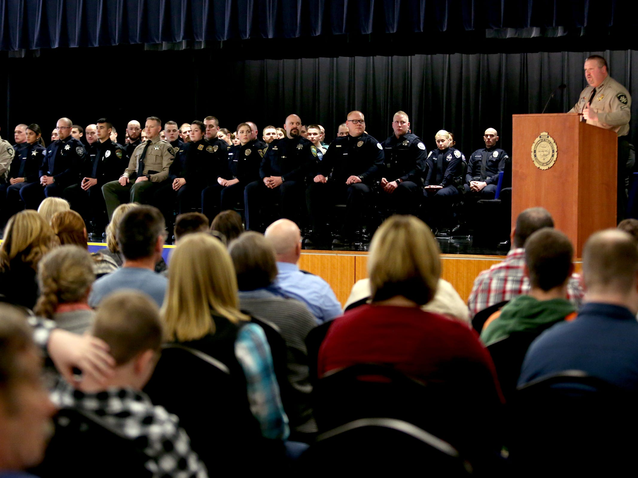 Hundreds attend a Basic Police Class graduation ceremony at the Department of Public Safety Standards and Training in Salem on March 15, 2019.