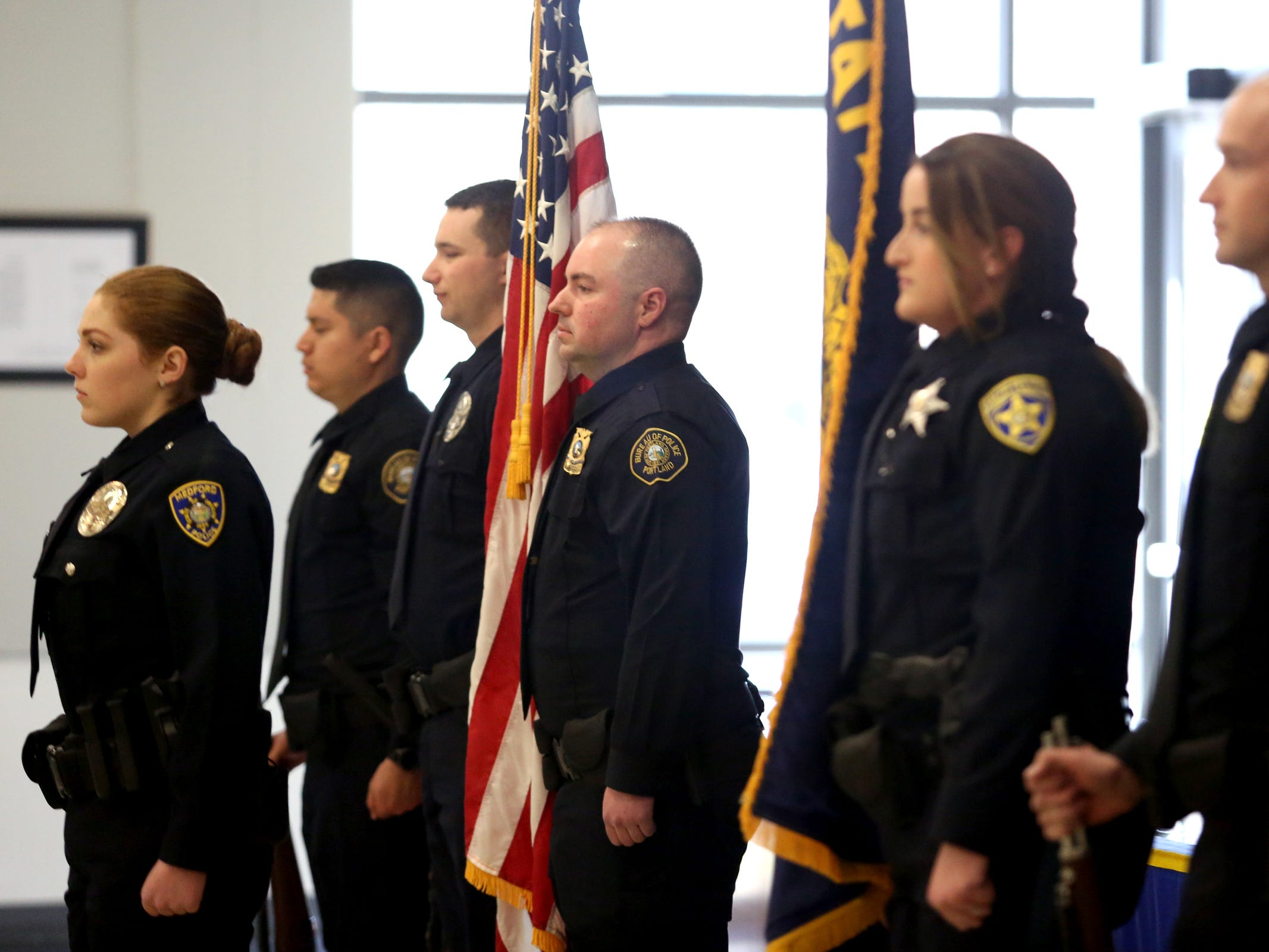 The colors are posted during a Basic Police Class graduation ceremony at the Department of Public Safety Standards and Training in Salem on March 15, 2019.