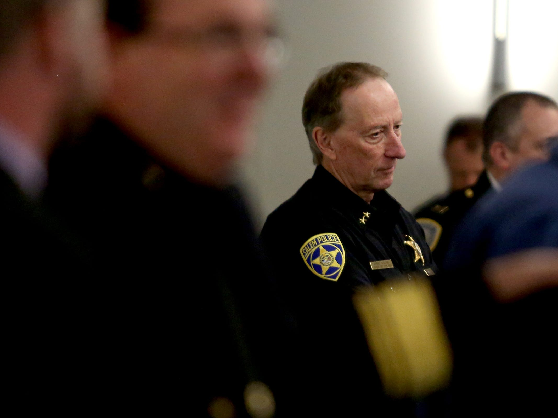 Salem Police Chief Jerry Moore attends a Basic Police Class graduation ceremony at the Department of Public Safety Standards and Training in Salem on March 15, 2019.