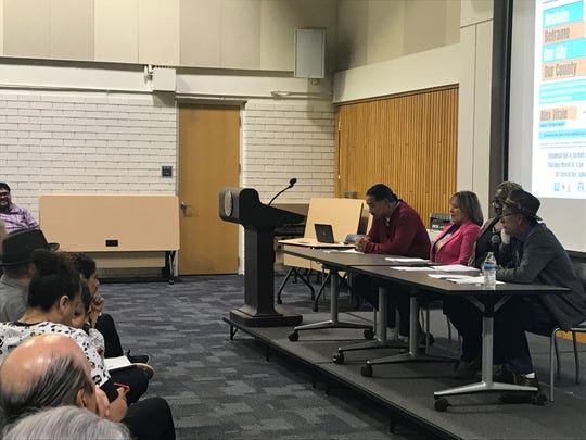 A panel consisting of local leaders from Building Healthy Communities, MILPA, and other organizations spoke on themes of local pride and the racism many face. March 14, 2019.