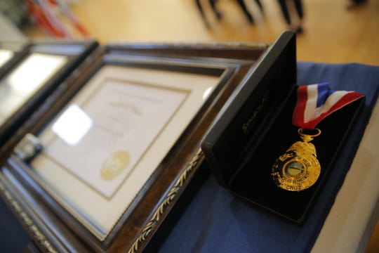 A medal of valor at the Salinas Police Department's Annual Awards Ceremony Thursday evening