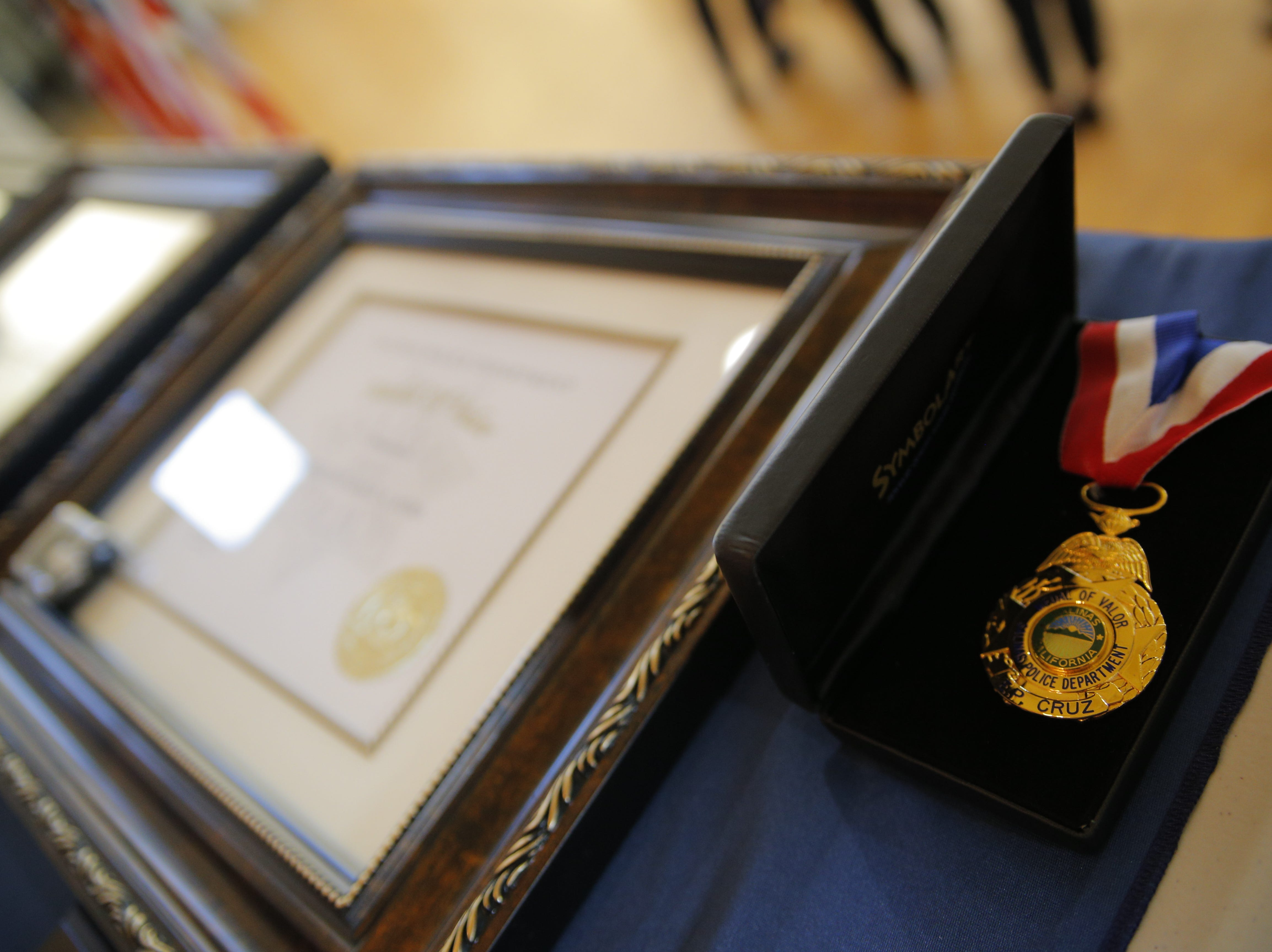 The Salinas Police Department's Medal of Valor on display March 14, 2019, at the Salinas Police Department's 2018 awards ceremony.