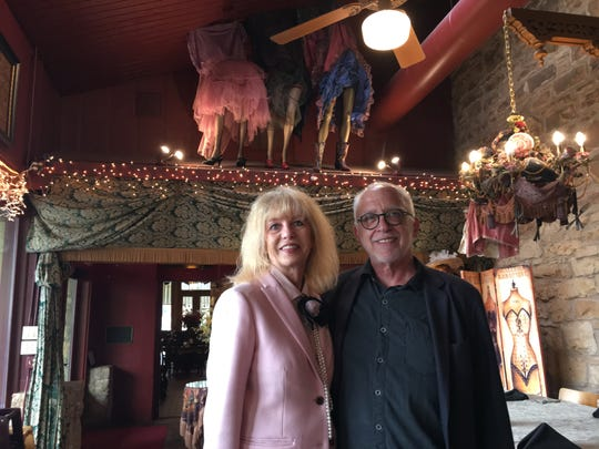 Brenda Gunter, San Angelo mayor, and Broadway director Bruce Lumpkin pose with the Dancing Girls in Miss Hattie's Restaurant and Cathouse Lounge, 26 E Concho Ave.