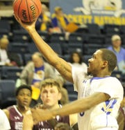 Angelo State University's James Kirksey puts up a shot earlier in the 2018-19 basketball season.
