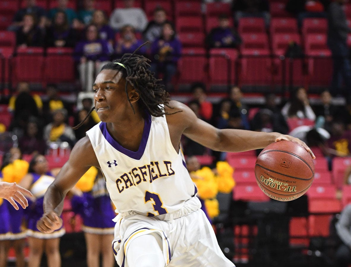 Crisfield's Rkyell Waters controls the ball against Southern-Garrett during the MPSSAA State Championships at the Xfinity Center in College Park, Md. on Friday, March 15, 2019.