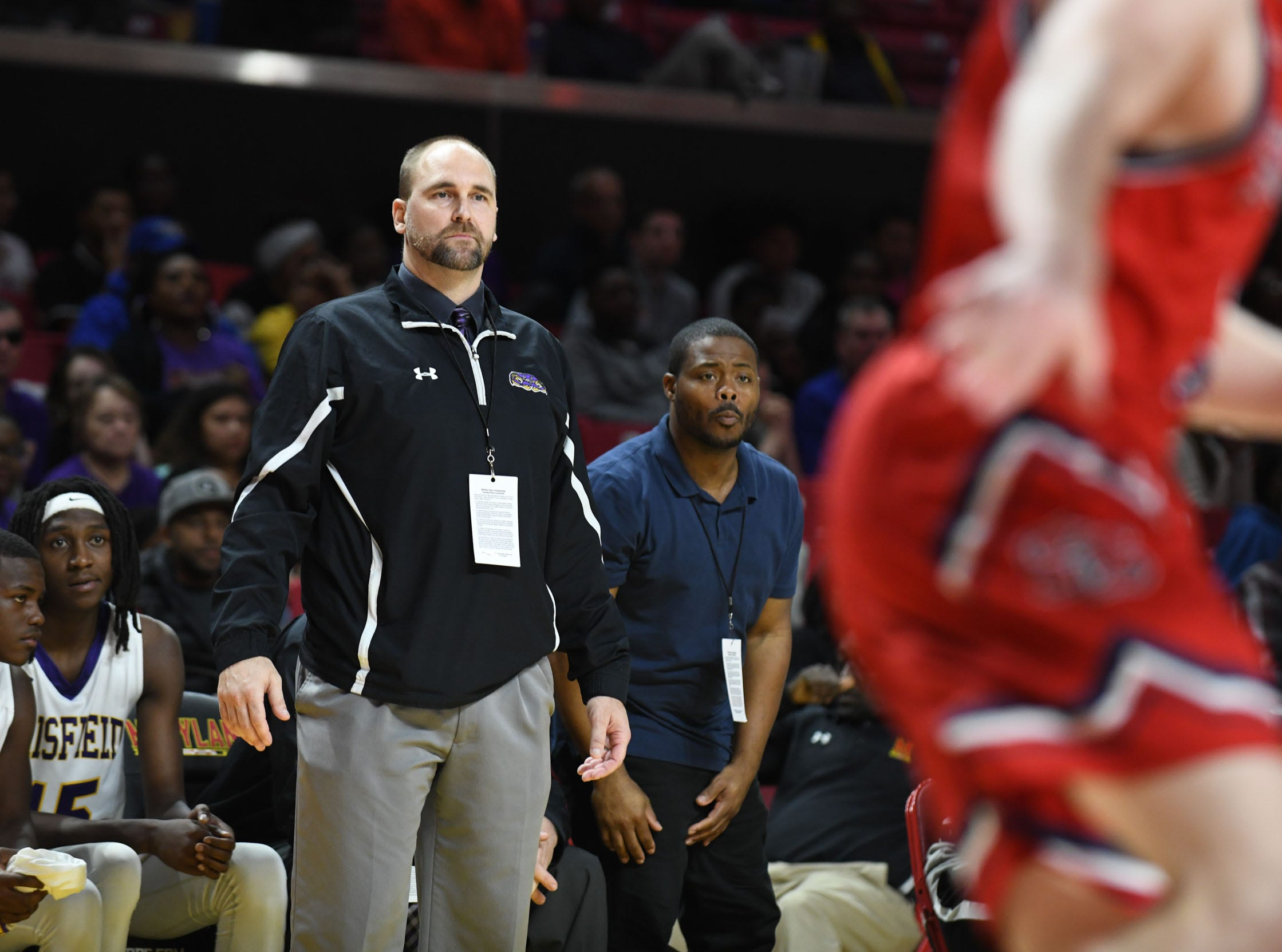 Crisfield's Head Coach David Arnold during the game against Southern-Garrett during the MPSSAA State Championships at the Xfinity Center in College Park, Md. on Friday, March 15, 2019.