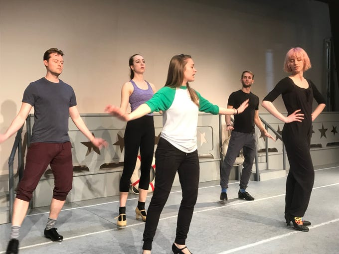 Actors rehearse a number for 'Dames at Sea,' a tap dance, musical comedy, on Thursday, March 14, 2019. The musical will be performed at North Street Playhouse in Onancock, Virginia starting on Thursday, March 21, 2019.