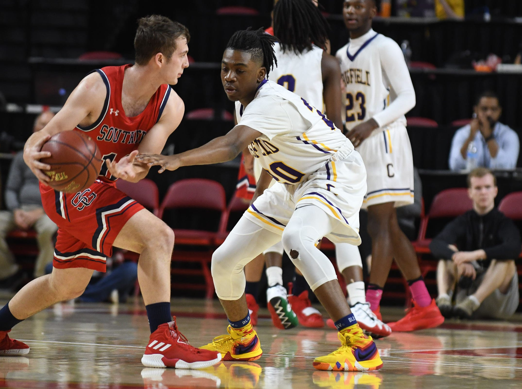 Crisfield's Christian Crawford on defense against Southern-Garrett during the MPSSAA State Championships at the Xfinity Center in College Park, Md. on Friday, March 15, 2019.