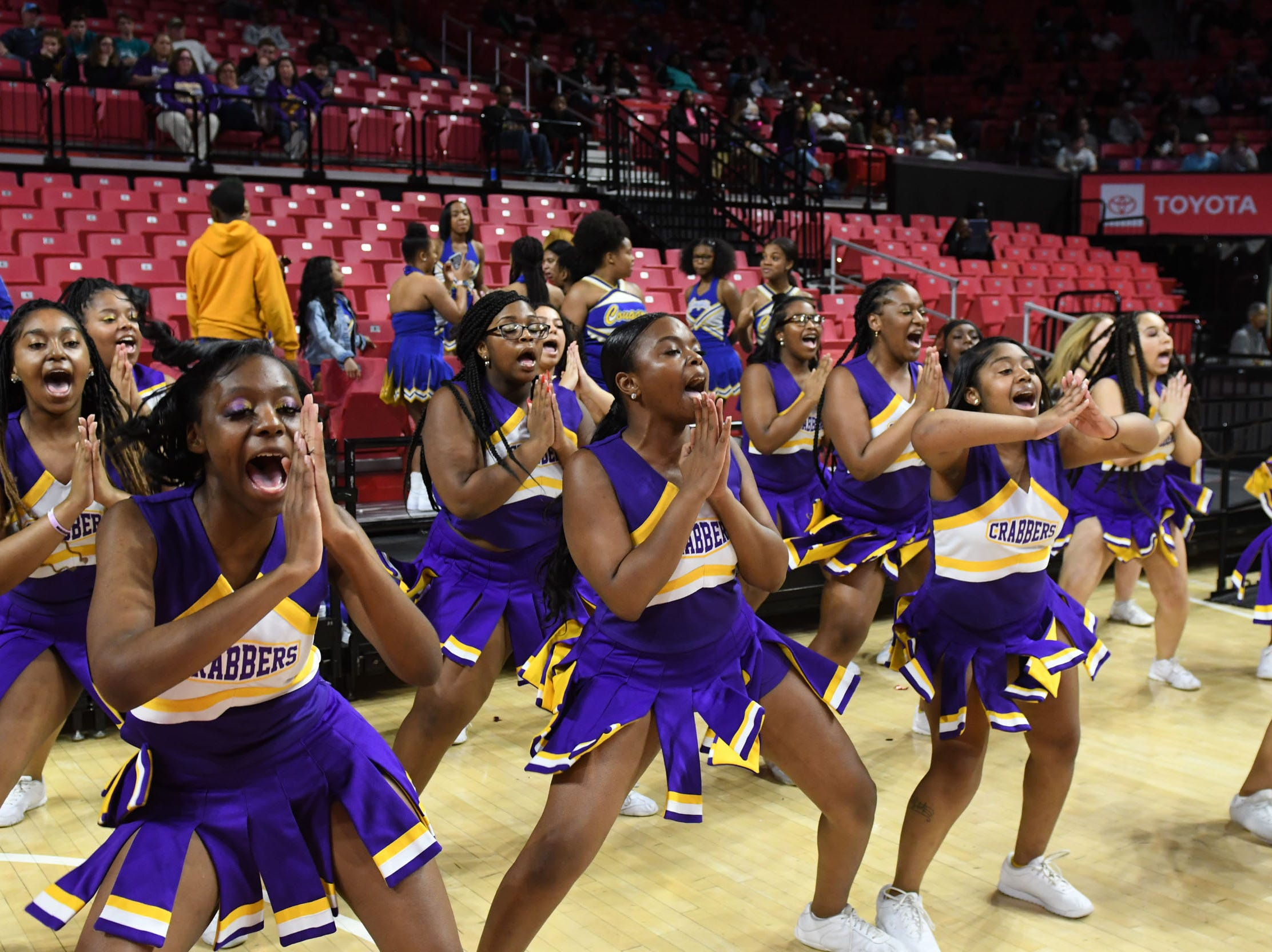 Crisfield's cheerleaders during the MPSSAA State Championships at the Xfinity Center in College Park, Md. on Friday, March 15, 2019.